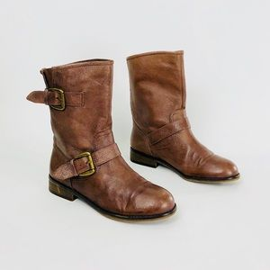 STEVE MADDEN TEMMPT BROWN LEATHER BOOTS